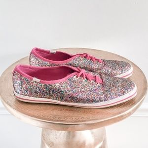 Kate Spade Keds Pink Glitter Sparkle Sneakers
